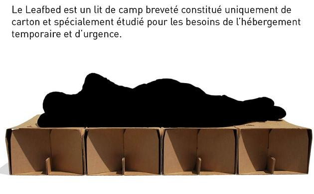 leafbed le lit en carton vocation humanitaire. Black Bedroom Furniture Sets. Home Design Ideas