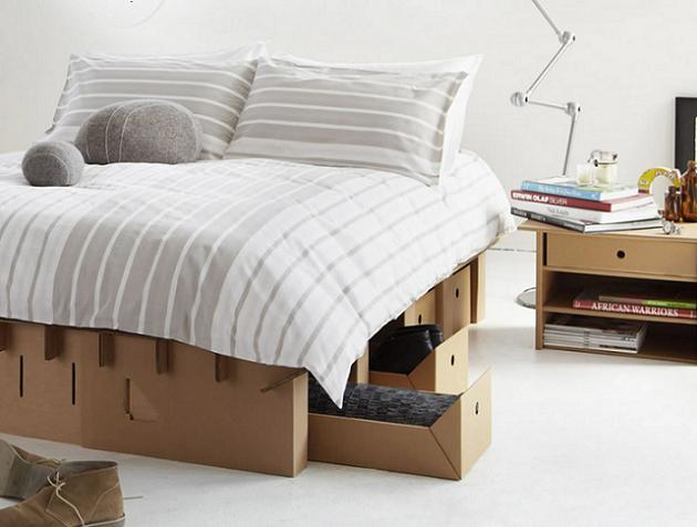 the cardboard bed